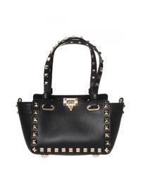 Valentino | Black Micro Tote Rockstud Bag | Lyst
