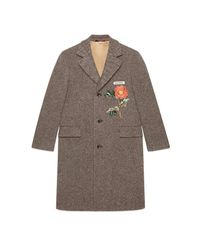 Gucci - Brown Wool Coat With Embroideries for Men - Lyst