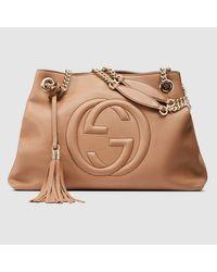 Gucci Soho Leather Shoulder Bag in Natural - Lyst c3a9ada10b04a
