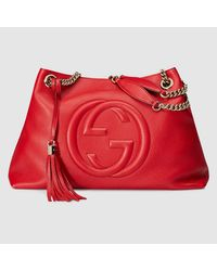 f7a41d652247 Lyst - Gucci Soho Leather Shoulder Bag in Red