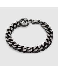 Gucci - Metallic Bracelet With Interlocking G for Men - Lyst