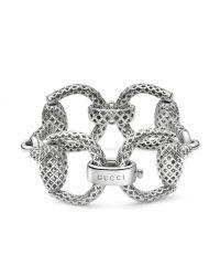 Gucci - Metallic Sterling Silver Horsebit Bracelet - Lyst
