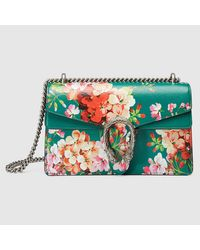 815cce26f Gucci Dionysus Blooms Leather Shoulder Bag in Green - Lyst