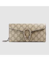 e850509b399 Gucci GG Supreme Canvas Embroidered Wrist Wallet in Gray - Lyst