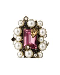 Gucci | Purple Ring With Crystal And Pearls | Lyst
