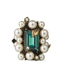 Gucci - Multicolor Ring With Crystal And Pearls - Lyst