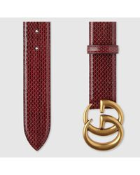 Gucci - Red Ayers Belt With Double G Buckle - Lyst