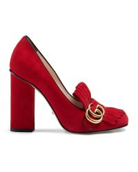Gucci   Red Suede Loafer Pumps   Lyst