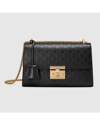 Lyst - Gucci Padlock Signature Leather Shoulder Bag in Black d8b3dc8ba4e5b