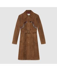b21d1faf9777 Lyst - Gucci Suede Coat With Leather Web in Brown for Men