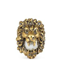Gucci | Metallic Lion Head Ring With Glass Pearl for Men | Lyst