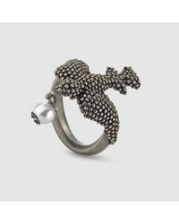Gucci - Metallic Ring In Silver With Bird Motif for Men - Lyst