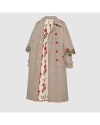 Gucci - Multicolor Embroidered Houndstooth Trench Coat - Lyst