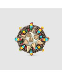 Gucci - Yellow Ring With Spikes And Beads - Lyst