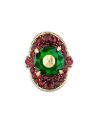 Gucci   Metallic Ring With Stud And Crystals   Lyst