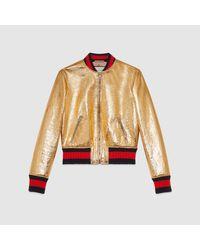 Gucci - Metallic Leather Bomber Jacket - Lyst