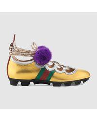 1f57470f8 Gucci Metallic Leather And Mink High Sneaker in Metallic - Lyst