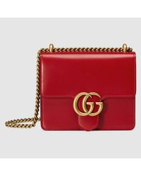 2286d7a8f Gucci Gg Marmont Leather Shoulder Bag in Red - Lyst