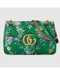 9b17710cbe2 Lyst - Gucci Gg Marmont Floral Jacquard Shoulder Bag in Green