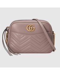2599164305b81a Gucci GG Marmont Matelassé Leather Shoulder Bag in Pink - Lyst