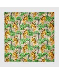 Gucci - Green Bengal Modal Silk Shawl - Lyst