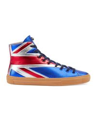 Gucci | Blue Union Jack High-top Sneaker for Men | Lyst