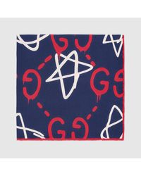 Gucci - Blue Ghost Silk Pocket Square for Men - Lyst