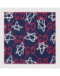 Gucci | Blue Ghost Silk Pocket Square for Men | Lyst