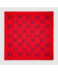 Lyst - Gucci Ghost Modal Silk Shawl in Red 1fd1b6ed786