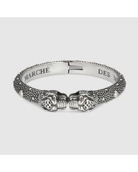 Gucci - Metallic Tiger Head Bracelet for Men - Lyst
