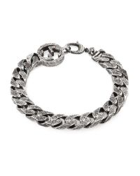 Gucci | Metallic Interlocking G Chain Bracelet In Silver | Lyst