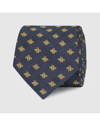 Gucci - Blue Check Bee Jacquard Silk Tie for Men - Lyst