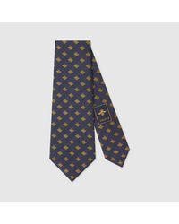 Gucci | Blue Check Bee Jacquard Silk Tie for Men | Lyst