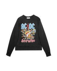 Gucci | Black Cotton Sweatshirt With Ac/dc Print for Men | Lyst