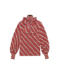 Gucci - Red Diagonal Jacquard Lurex Turtleneck Top - Lyst