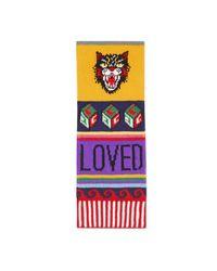 Gucci - Multicolor Striped Symbols Wool Scarf - Lyst