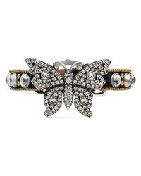 Gucci - Black Crystal Studded Butterfly Bracelet - Lyst