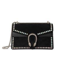 3e8a3b8a396 Gucci Dionysus Suede Shoulder Bag With Crystals in Black - Lyst