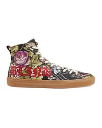 Gucci - Blue Floral Jacquard High-top Sneaker - Lyst