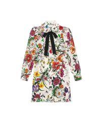 4953cf3f278 Gucci Flora Snake Print Dress - Lyst