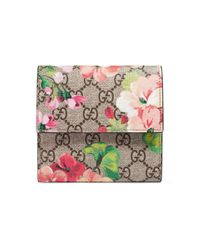 Gucci - Gray Gg Blooms French Flap Wallet - Lyst
