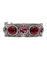Gucci - Metallic Silver Bracelet With Interlocking G Motif - Lyst