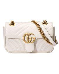 Gucci - White Gg Marmont Matelassé Mini Bag - Lyst