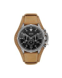 Guess - Multicolor Tan And Silver-tone Masculine Cuff Watch - Lyst
