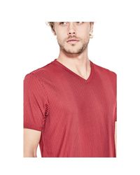 Guess - Red Limit Striped V-neck Tee for Men - Lyst