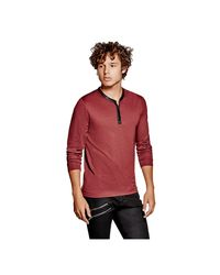 Guess   Red Mason Jacquard Henley for Men   Lyst