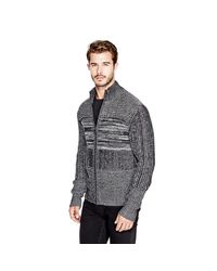 Guess   Black Marled Zip Sweater for Men   Lyst
