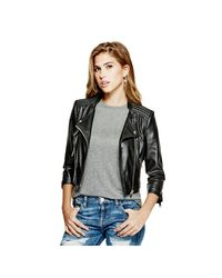 Guess | Black Brid Faux-leather Jacket | Lyst