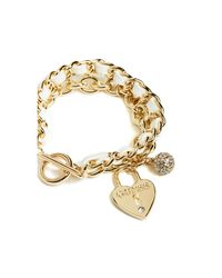 Guess | Metallic Gold-tone Charm Toggle Bracelet | Lyst