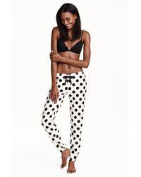 H&M | Black Fleece Pyjama Bottoms | Lyst